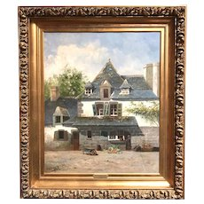 William Hilliard French Townscape Oil Painting, Pont Avon 1882