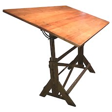 Nice Size Early to Mid 20th c Adjustable Drafting Table with Great Patina