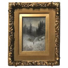 Benjamin Champney Oil Painting of a White Mountain Winter Landscape