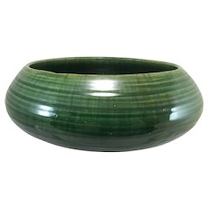 Grueby Faience Co Boston Green Low Bowl with Drip Glaze
