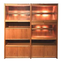 Belgian Mid Century Modern Style Modular Wall Console & Cabinet with Lit Interior