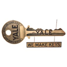 Yale & Towne Mfg Co Stamford CT Die Cut Metal Two Sided Key Advertising Sign