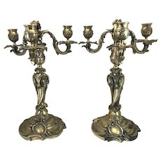 Pair of French Silver Gilt Bronze 3-Light Candelabrums, Henry Dasson et Cie 1892