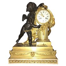 19th c French Figural Gilt Palace Mantel Clock with Bronze Cherub