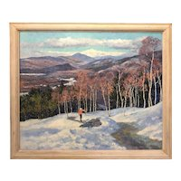 Francis Orville Libby Winter Ski Scene Oil Painting, View of Mt Washington from Mt. Cranmore