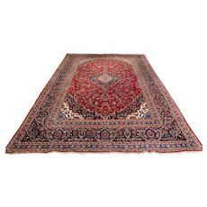 20th c Room Size Oriental Rug with Central Medallion on a Brick Red Field