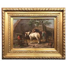 Willem Jacobus Bogaard Rural Farm Genre Oil Painting with Draught Horses