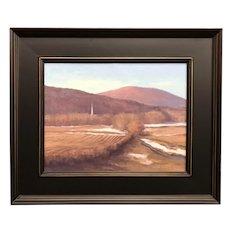 David Dodge Winter Landscape Oil Painting, Steeple at Stowe VT