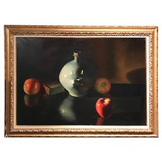 Giovanni Bragolin Oil Painting, Still Life with Stoneware Jug & Apples