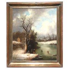 Edmund C. Coates Winter Landscape Oil Painting, Skaters on the Pond 1863
