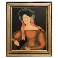 Linda Carter Lefko Folk Art Portrait Oil Painting of a Woman in the Manner of Ammi Phillips
