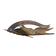John Haley Bellamy Style Polychrome Carved Wooden Eagle with Banner