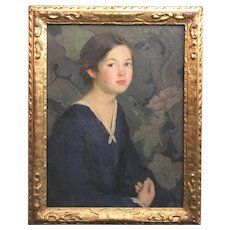Carl Johan Nordell Oil Painting of a Young Girl, Child in Blue
