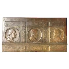 Charles Eugene Tefft Bas-Relief Bronze Presidential Plaque with Washington, Roosevelt, & Lincoln