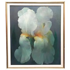 Dimitri Romanovski Still Life Oil Painting of a White Iris