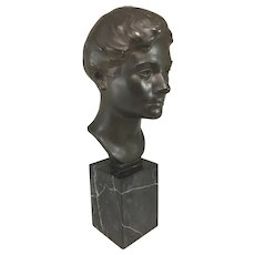 Mabel Viola Harris Conkling Patinated Cast Bronze Bust on Marble Plinth