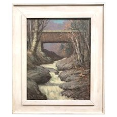 Harry Leslie Hoffman Oil Painting Landscape with Covered Bridge