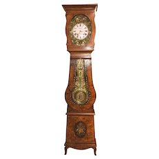 19th c French Comtoise or Morbier style Hand Painted Country Tall Clock