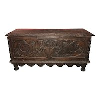 17th / 18th c Continental Carved Oak Cassone or Blanket Chest with Foliate Panel