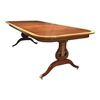 Custom Joseph Gerte Co Boston Banded Mahogany Dining Table with Lyre Base