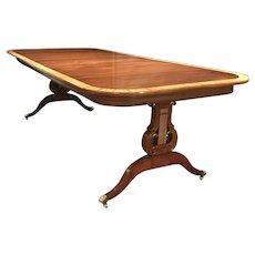 Custom Joseph Gerte Co Boston Banded Mahogany Dining Table with Lyre Base
