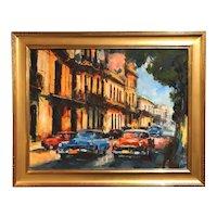 Alexi Leyva Cuban Impressionist Oil Painting with Vintage Cars, Habana Vieja