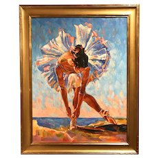 Juan Fernando Chacon Colorful Impressionist Oil Painting of a Ballet Dancer
