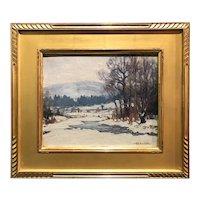 Ronau William Woiceske Winter Landscape Oil Painting, After The Snow Storm