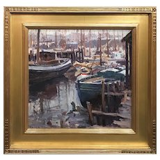 Emile Albert Gruppe Impressionist Oil Painting Harbor Scene, Rainy Day