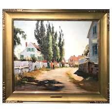 Anthony Thieme Oil Painting Street Scene, The Other Side of Town, Rockport MA
