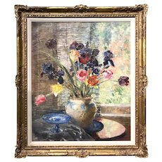Arthur Woelfle Oil Painting Still Life with Flowers 1925
