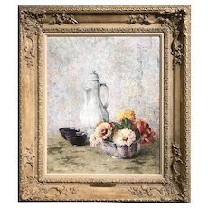 Dines Carlsen Oil Painting Still Life with Coffee Pot, Bowls, and Flowers