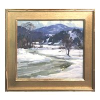 Aldro Thompson Hibbard Landscape Oil Painting, Vermont Winter 1935