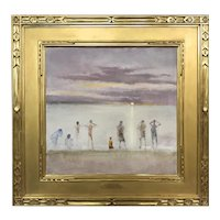Stephen Motyka Impressionist Oil Painting,Watching The Sunset at Martha's Vineyard
