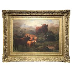 J. Hughes 19th Century Oil Painting of Highland Cattle