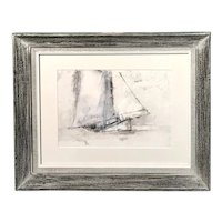 William Thon Abstract Marine Watercolor Painting of a Sailboat