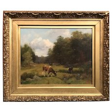William Preston Phelps Landscape Oil Painting with Cows Grazing