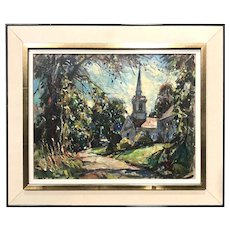 William Lester Stevens New England Landscape Oil Painting with a Country Church