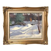 Charles Goodhue Oil Painting of a Winter Landscape with a Stone Wall
