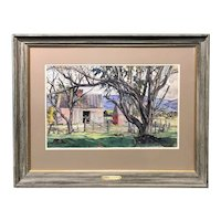 Luigi Lucioni Landscape Watercolor Painting with Barn, Pattern of Trees 1943