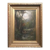 Samuel Lancaster Gerry White Mountain Landscape Oil Painting, Profile Lake, Franconia NH