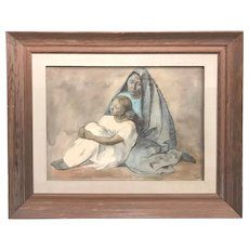 Francisco Zuniga Figural Crayon & Watercolor Painting, Dos Generaciones / Two Generations