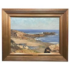Charles Herbert Woodbury Maine Coastal Oil Painting, Near Perkins Cove Off Ogunquit 1911