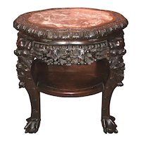 Chinese Rosewood Round Stand with Flower Shaped Rouge Marble Top