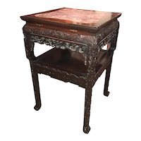 Chinese Square Rouge Marble Top Two Tier Carved Rosewood Stand with Two Drawers