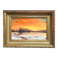 Erik Koeppel NH Landscape Oil Painting, Winter Sunset