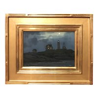 William R Davis Twilight Marine Oil Painting, Cape Neddick Light circa 1910