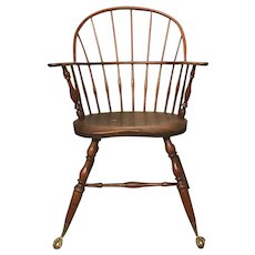 Ebenezer Tracy 18th / 19th c Connecticut Stamped Sack Back Windsor Arm Chair