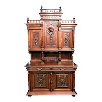 19th Century European Walnut Court or Castle Cupboard, Server or Back Bar