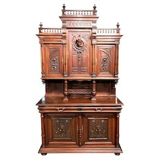 19th Century European Walnut Court or Castle Cupboard, Server or Back Bar